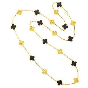 Van Cleef & Arpels Long Gold and Black Onyx 'Alhambra'