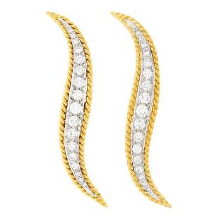 Van Cleef & Arpels Pair of Two-Color Gold and Diamond