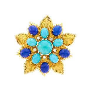 Cartier Gold, Turquoise, Lapis and Diamond Flower