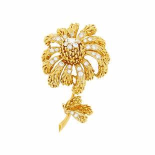 Van Cleef & Arpels Gold and Diamond Flower Clip-Brooch,