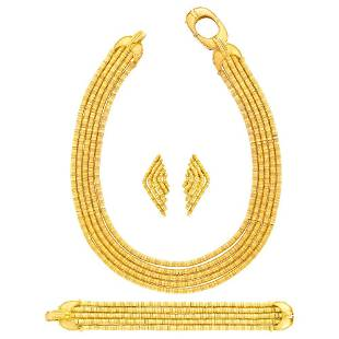 Ilias Lalaounis Five Strand Gold Necklace, Bracelet and