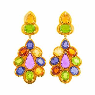 Sabbadini Pair of Gold and Gem-Set Pendant-Earclips
