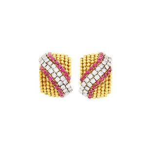 Van Cleef & Arpels Pair of Gold, Diamond and Ruby