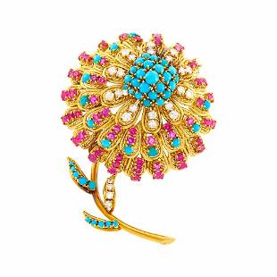 Van Cleef & Arpels Gold, Turquoise, Ruby and Diamond
