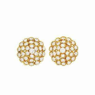 Van Cleef & Arpels Pair of Gold and Diamond Dome