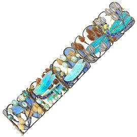 René Lalique Gold, Carved Opal, Enamel and