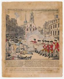 Paul Revere THE BLOODY MASSACRE Hand-colored engraving