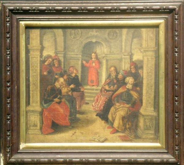 4020: German School 16th Century CHRIST AMONG THE DOCTO