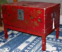 4110: Chinese Painted Red Leather Trunk