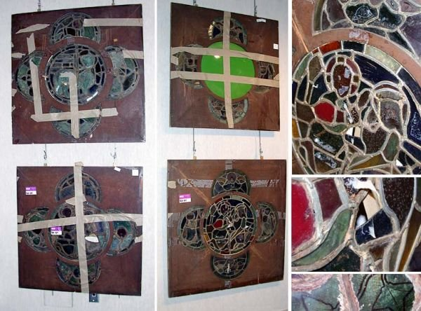 4282: Set of Four Continental Stained Glass Windows
