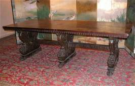 4285 Continental Baroque Style Walnut Refectory Table