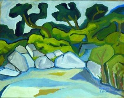 3: Alfredo Zalce Mexican, b.1908 BEACH, ROCKS, TREES