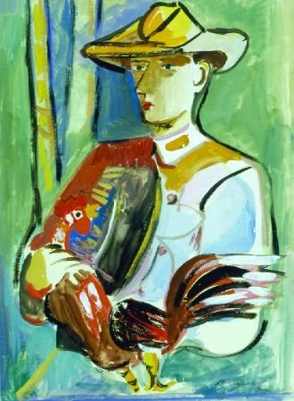 7: Mariano Rodriguez Cuban, 1912-1990 MAN HOLDING ROOST
