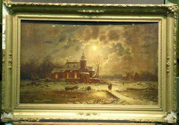 1021: Charles Risse 19th Century CHURCH AT NIGHT