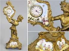1097 Louis XV Style Porcelain Mounted GiltBronze Figu