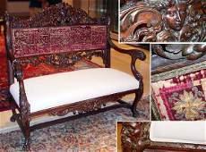 1433 Renaissance Revival Style Carved Mahogany Upholst