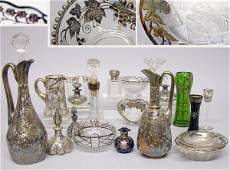 1530: Miscellaneous Group of Silver Overlay Glass Artic