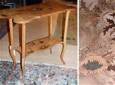 1531 Art Nouveau Marquetry Inlaid Fruitwood Table