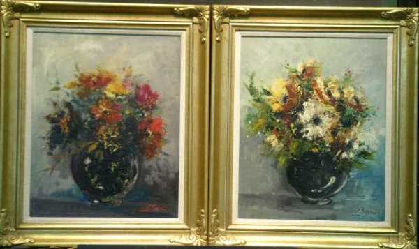 1002: L. Serein (?) 20th Century FLORAL STILL LIFES: TW