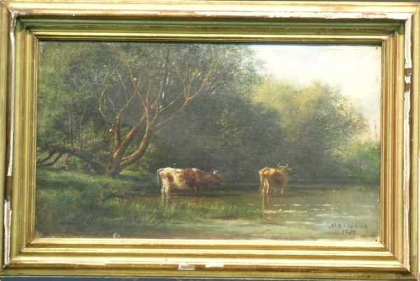 1012: Continental School 19th Century COWS DRINKING AT