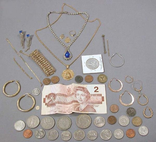 2: Group of Jewelry, Costume Jewelry, Coins and $2 Bill
