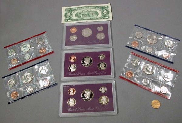 8: Seven U.S. Coin Proof Sets, $2 Bill and Gold Coin