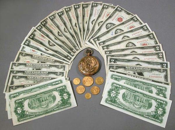 14: Pocket Watch, Gold Coins and $2 Bills