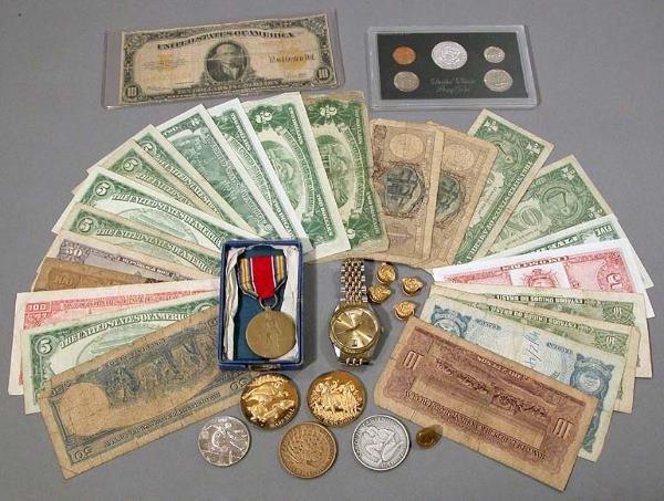 15: Medals, Pins, U.S. Proof Set, Wristwatch and Bills