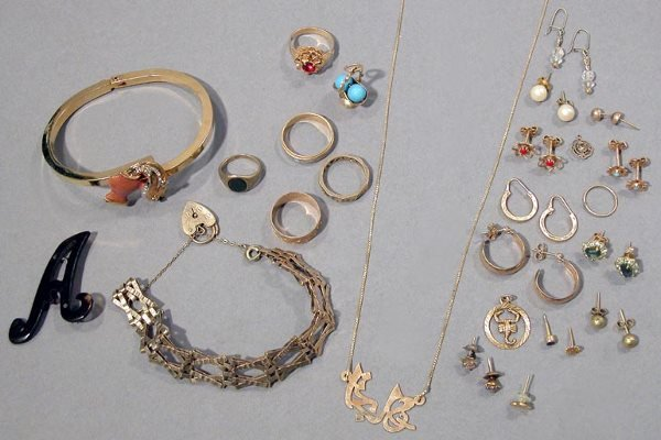 19: Group of Gold and Metal Jewelry