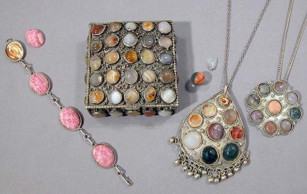 20: Silver Plate and Stone Box and Two Pendants and Bra