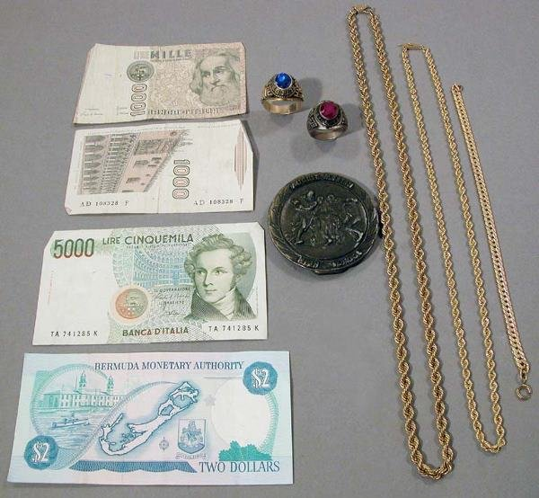 22: Group of Jewelry and Paper Money