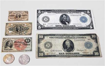 285: Group of Assorted Paper Money and Coins