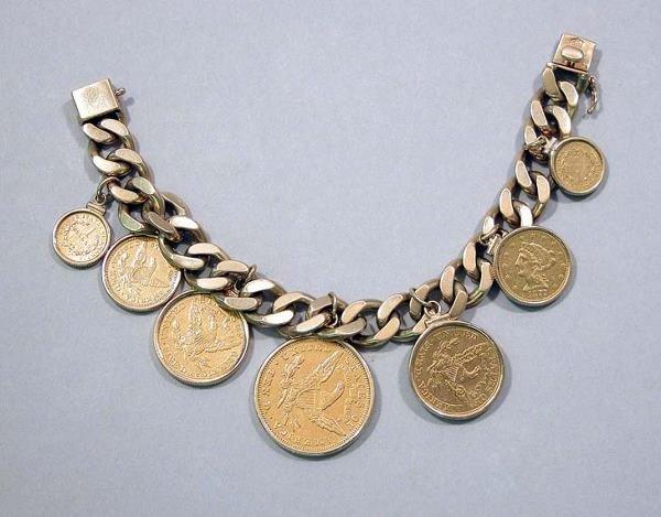 543: Gold Coin Charm Bracelet