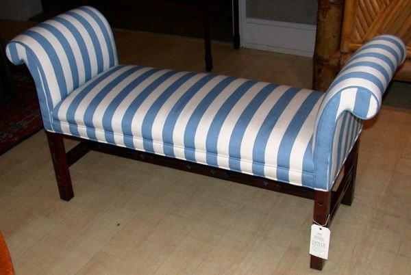 2116: Georgian Style Mahogany Upholstered Bench