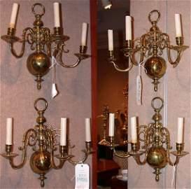 448: Set of Four Georgian Style Brass Three-Light Sconc