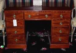 1190 George III Style Fruitwood Double Pedestal Desk