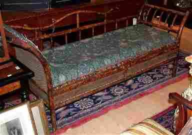 1276: Bamboo Upholstered Recamier
