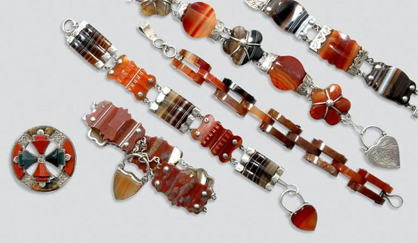 2003: Five Antique Agate Bracelets and One Pin