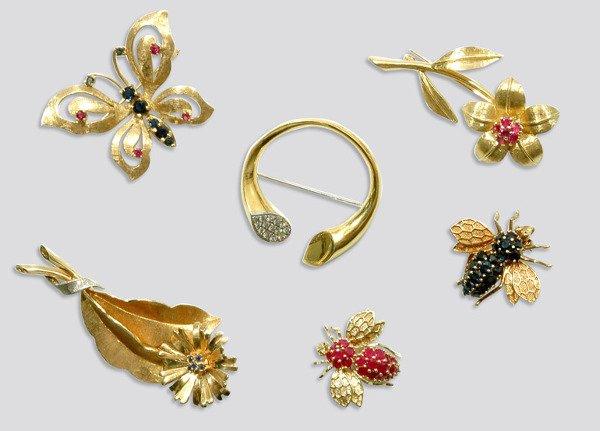 2008: Six Gold and Gem-Set Pins