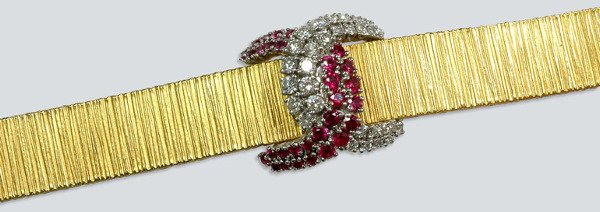 2011: Gold, Diamond and Synthetic Ruby Bracelet Watch