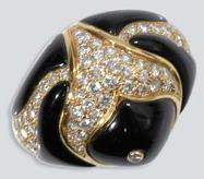 2359: Black Onyx and Diamond Bombe Fish Ring