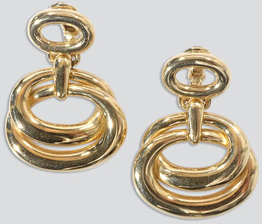 2488: Pair of Gold Pendant Earclips