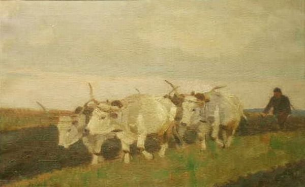 3013: Lajos Zombory Hungarian, 1867-1933 PLOUGHING THE