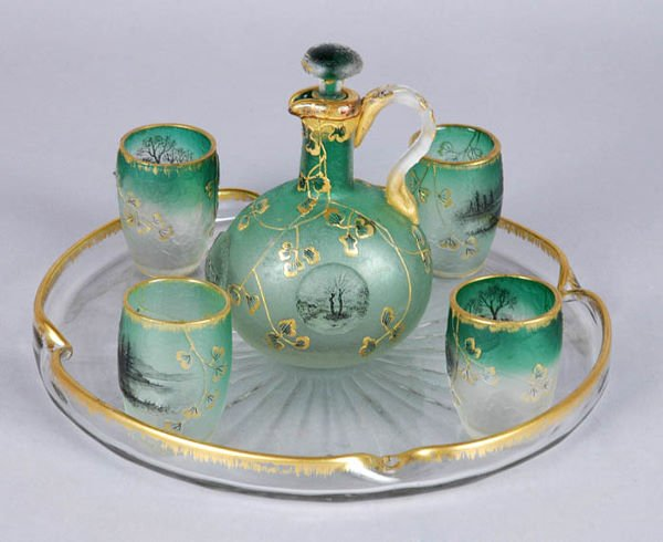 3236: Daum Nancy Gilt and Enamel Decorated Acid Etched
