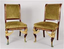 3312: Pair of Empire Style Gilt-Metal Mounted Upholster