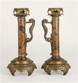 3416: Pair of Japanesque Style Parcel Gilt Bronze Candl