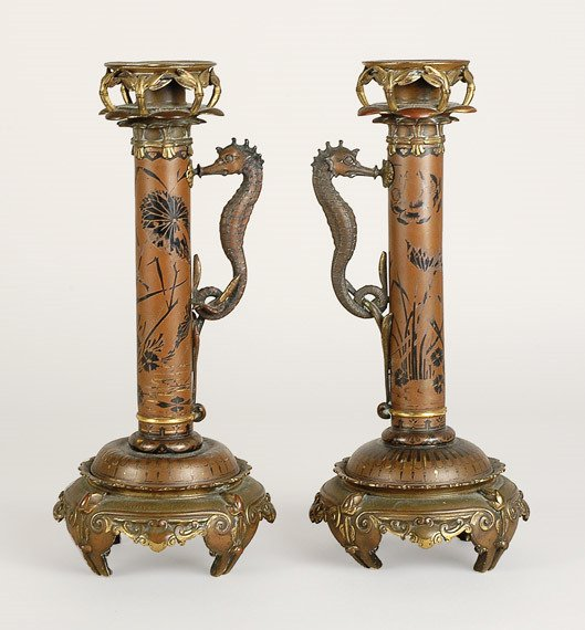 3416: Pair of Japanesque Style Parcel Gilt Bronze Candl