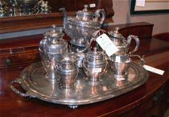 584 Mexican Sterling Silver SixPiece Tea Set with Tra