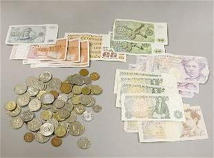 Group of Assorted Foreign Coins and Currency