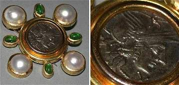 555 Coin and Mabe Pearl Pin